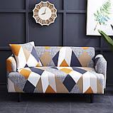 Чехол на диван универсальный для мебели цвет оранжевый шапито 140-175см  Код 14-0615, фото 2