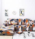 Чехол на диван универсальный для мебели цвет оранжевый шапито 140-175см  Код 14-0615, фото 5