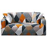 Чехол на диван универсальный для мебели цвет оранжевый шапито 140-175см  Код 14-0615, фото 7