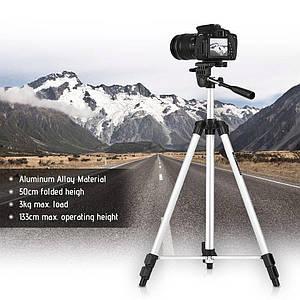 Профессиональный компактный штатив трипод тренога для фотоаппарата видеокамеры телефона высота 133 см