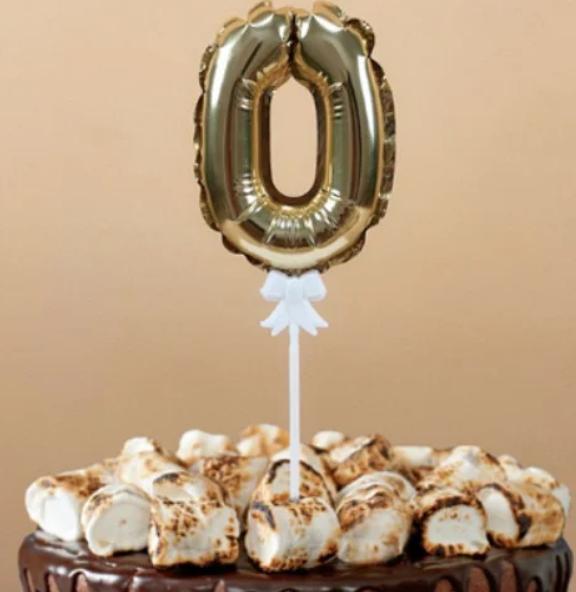 """Фольгированная цифра в торт (топпер)  """"0"""", 14 см"""