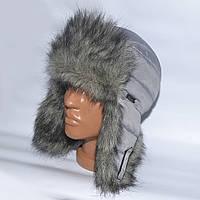 Теплая детская шапка-ушанка на зиму из искуственного меха - модель 114-2