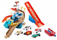 Hot Wheels Color Shifters Playset (2-Pack) Трек Хот вилс 2 в 1 Атака акулы и 5 машинок, меняющих цвет