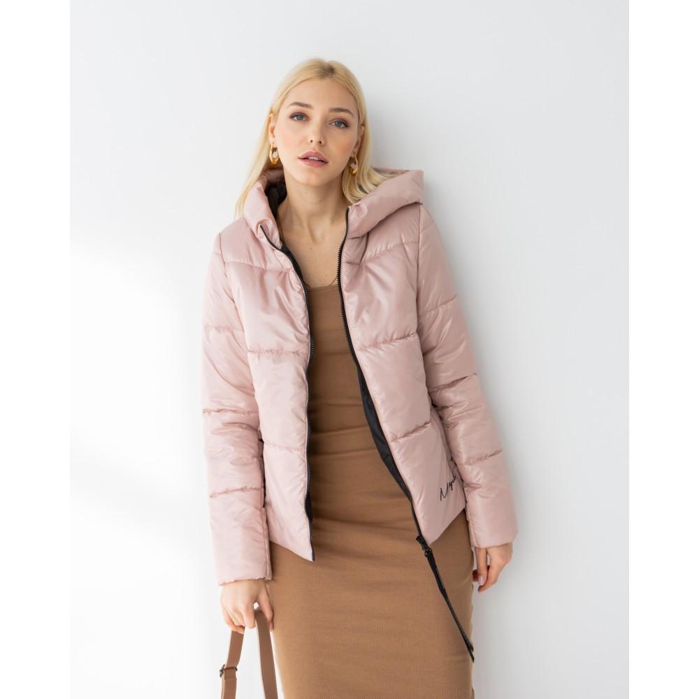 Качественная брендовая демисезонная куртка Лакки нюдового цвета
