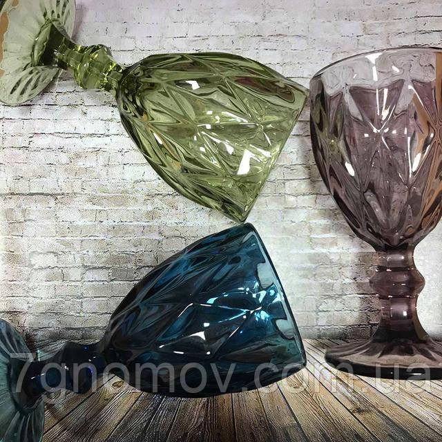 Бокалы из цветного стекла Изольда по 300 мл