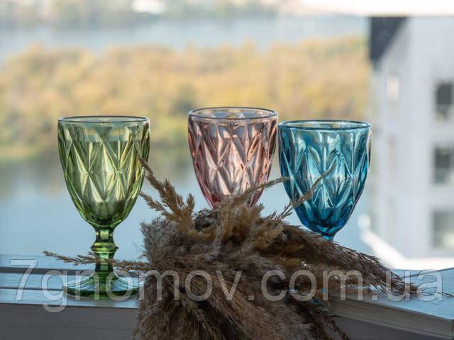 Набор разноцветных бокалов для вина Изольда 300 мл