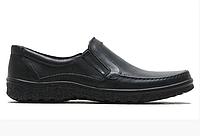 Чоловічі шкіряні туфлі на резинці 004 чорні