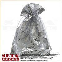 Подарочный мешочек с серебристыми вензелями 12х16(11) см из органзы.
