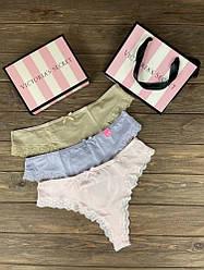 Набор женских трусов Victoria's Secret Model 6 Розовый, Бежевый, Сиреневый