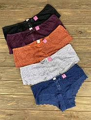 Набор женских трусов Victoria's Secret Model 9 Черный, Синий, Фиолетовый, Персиковый , Сиреневый