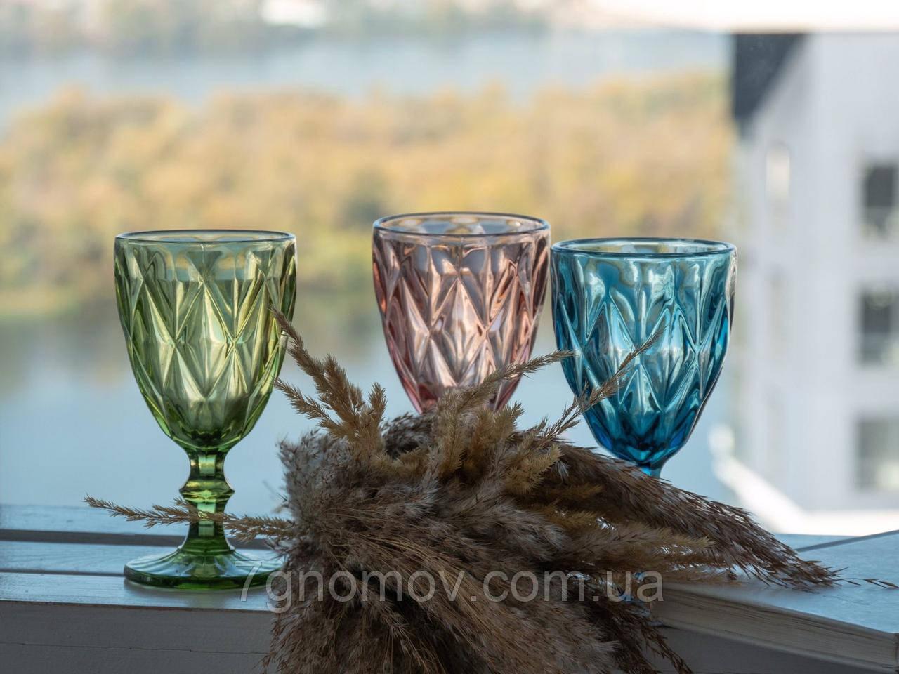 Набор 6 бокалов из цветного стекла Изольда 300 мл