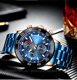 Часы оригинальные мужские наручные кварцевый хронограф Megalith 8087M Blue-Cuprum / часы оригинал