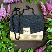 Женская сумка из дерева / Сумка ручной работы / Клатч женский (19х16х9 см)