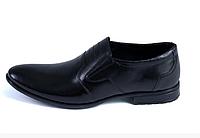 Мужские  кожаные туфли AVA De Lux черные без шнурков, фото 1