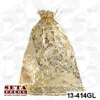 Подарочный мешок с золотистыми вензелями 45х55 см из органзы, полупрозрачный