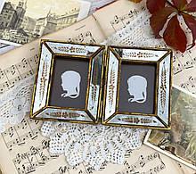 Старая английская двойная фоторамка, рамка для двух фото, Англия, винтаж