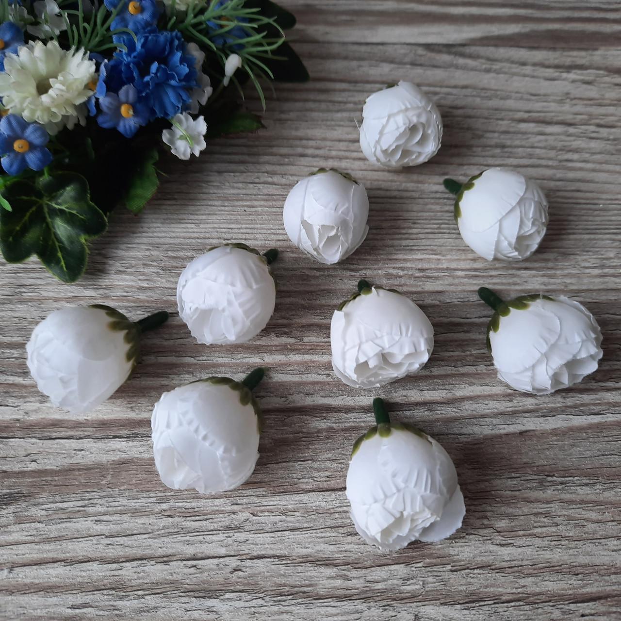 Пионы (рунюнкулюсы) из ткани белые, диаметр 3 см (40 грн - 10 шт.)