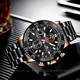 Часы оригинальные мужские наручные кварцевый хронограф  Megalith 8087M Black-Cuprum-Blue / часы оригинал