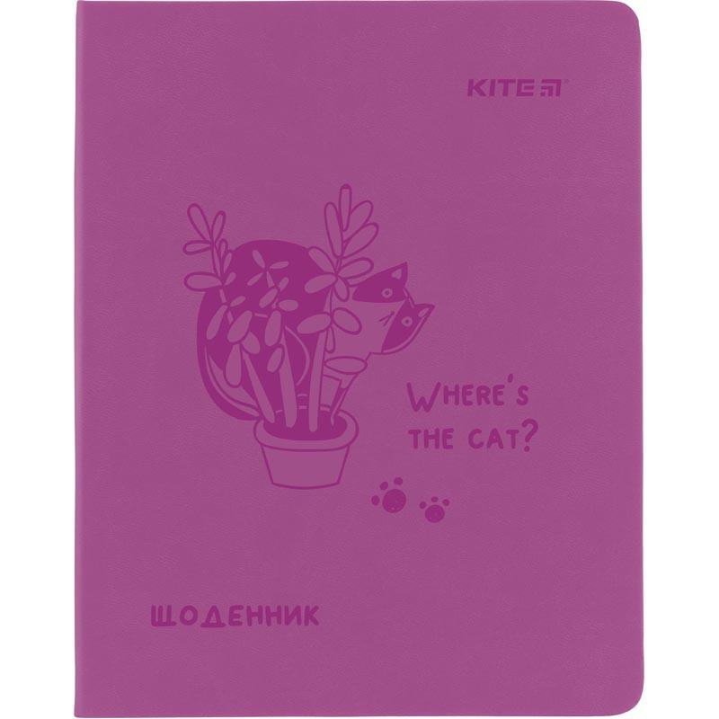 Дневник школьный, мягкий переплёт, PU, Where the cat?