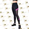 Cпортивные женские черные лосины с ярко-розовыми вставками сетки, фото 3