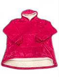 Двухсторонняя толстовка (плед) - халат с капюшоном Huggle Hoodie малиновая плед с рукавами плюшевая кофта, фото 2