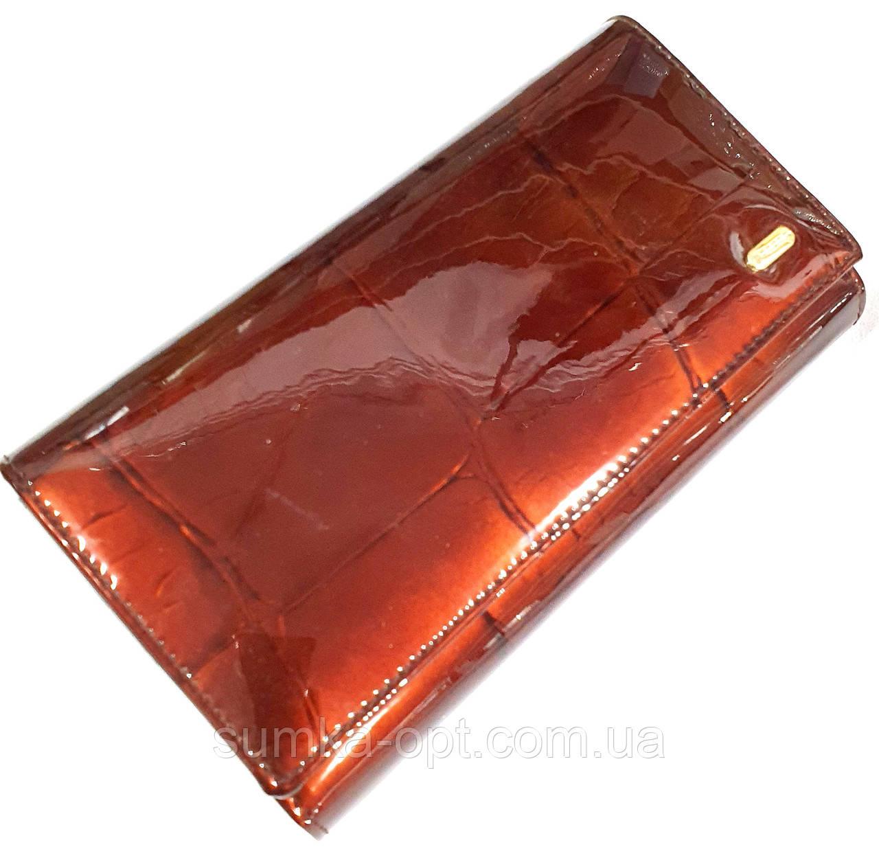 Женский кожаный лаковый кошелек Danica на кнопке (монетница внутри) и с визитницей