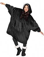 Двухсторонняя толстовка (плед) - халат с капюшоном Huggle Hoodie черная плед с рукавами плюшевая кофта