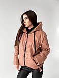 Демисезонная куртка из матовой экокожи на молнии с капюшоном короткая (р. 42-46) 6501591, фото 5