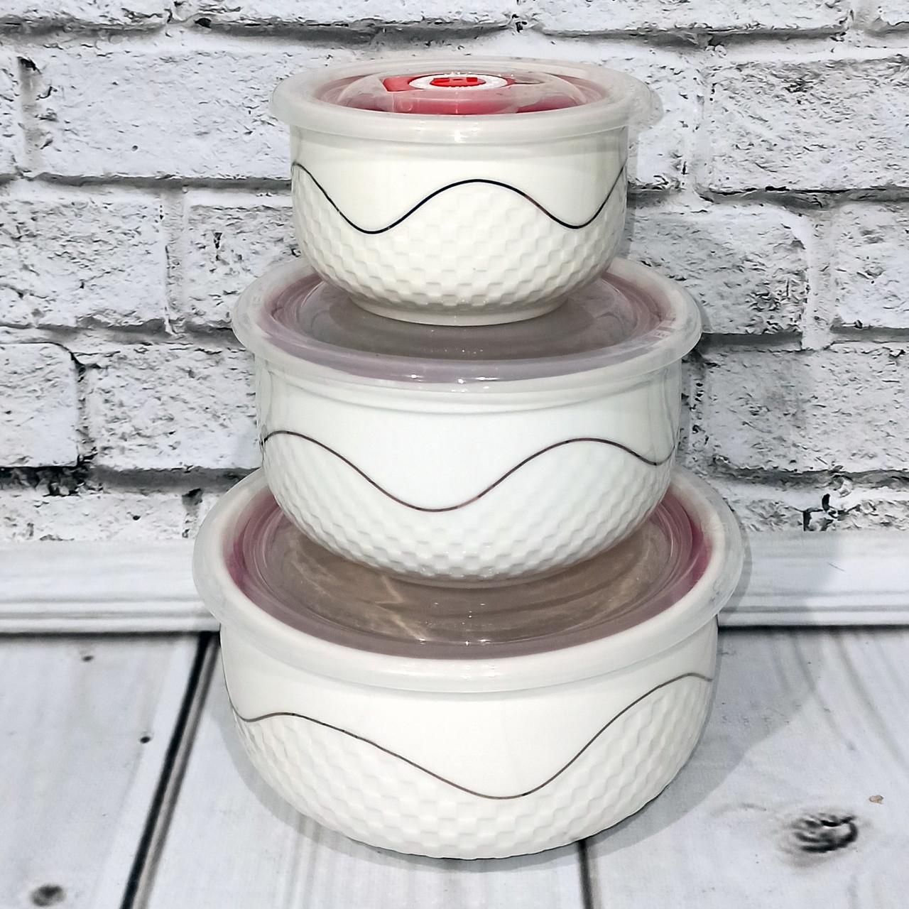 Салатники керамические с крышкой 3шт/наб 300/450/1000мл