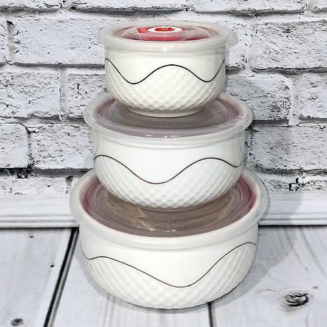 Салатники керамические с крышкой 3шт/наб 300/450/1000мл, фото 2