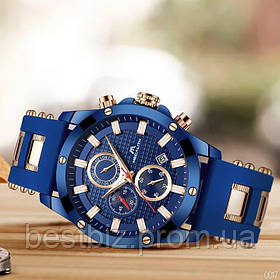 Часы оригинальные мужские наручные кварцевый хронограф Megalith 0140M Blue-Cuprum / часы оригинал