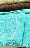 Турецька махрова жакардова простирадло євро розмір Тм Zeron SAÇAKLI LACIVERT синя, фото 6
