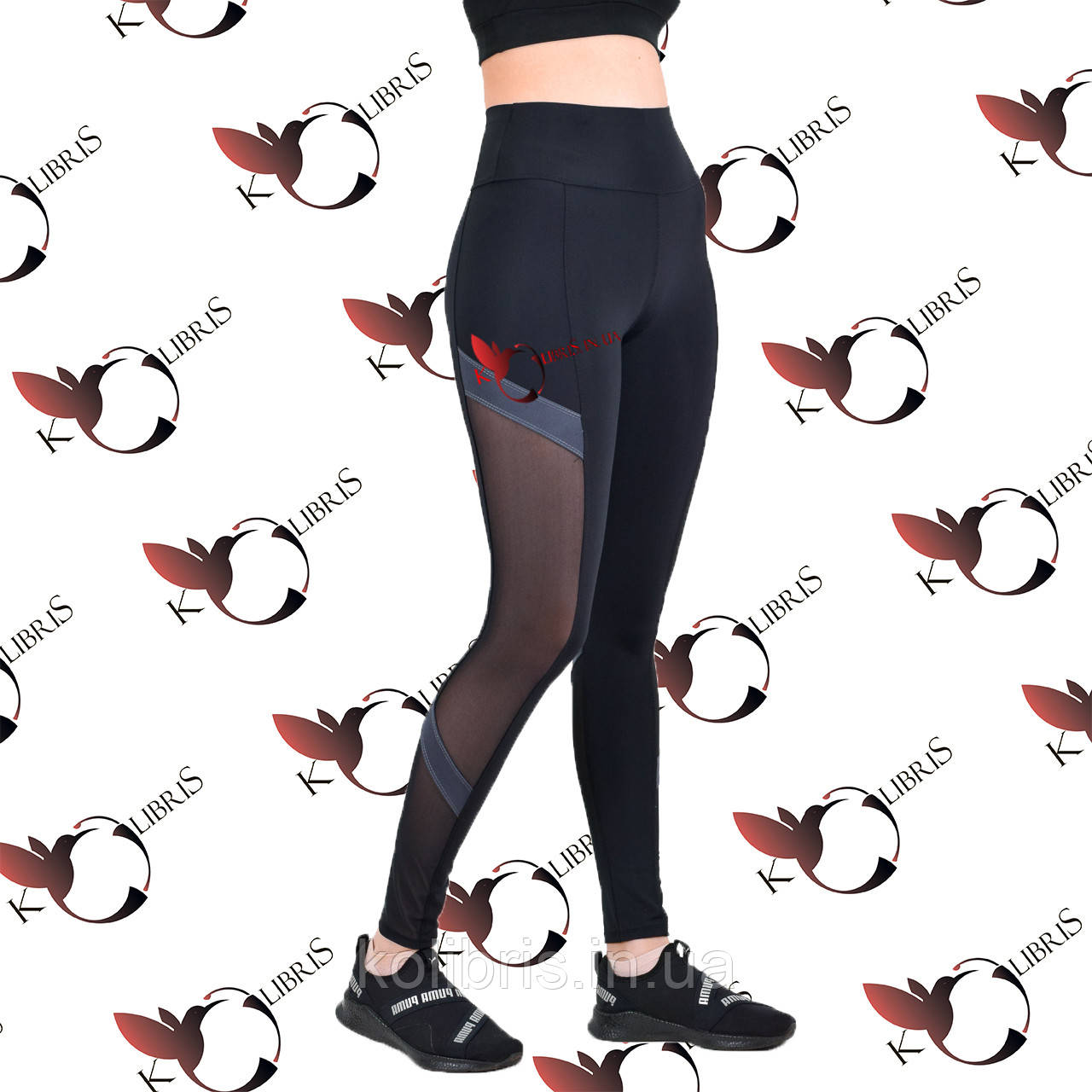 Женские спортивные лосины со вставками серого цвета и сетки