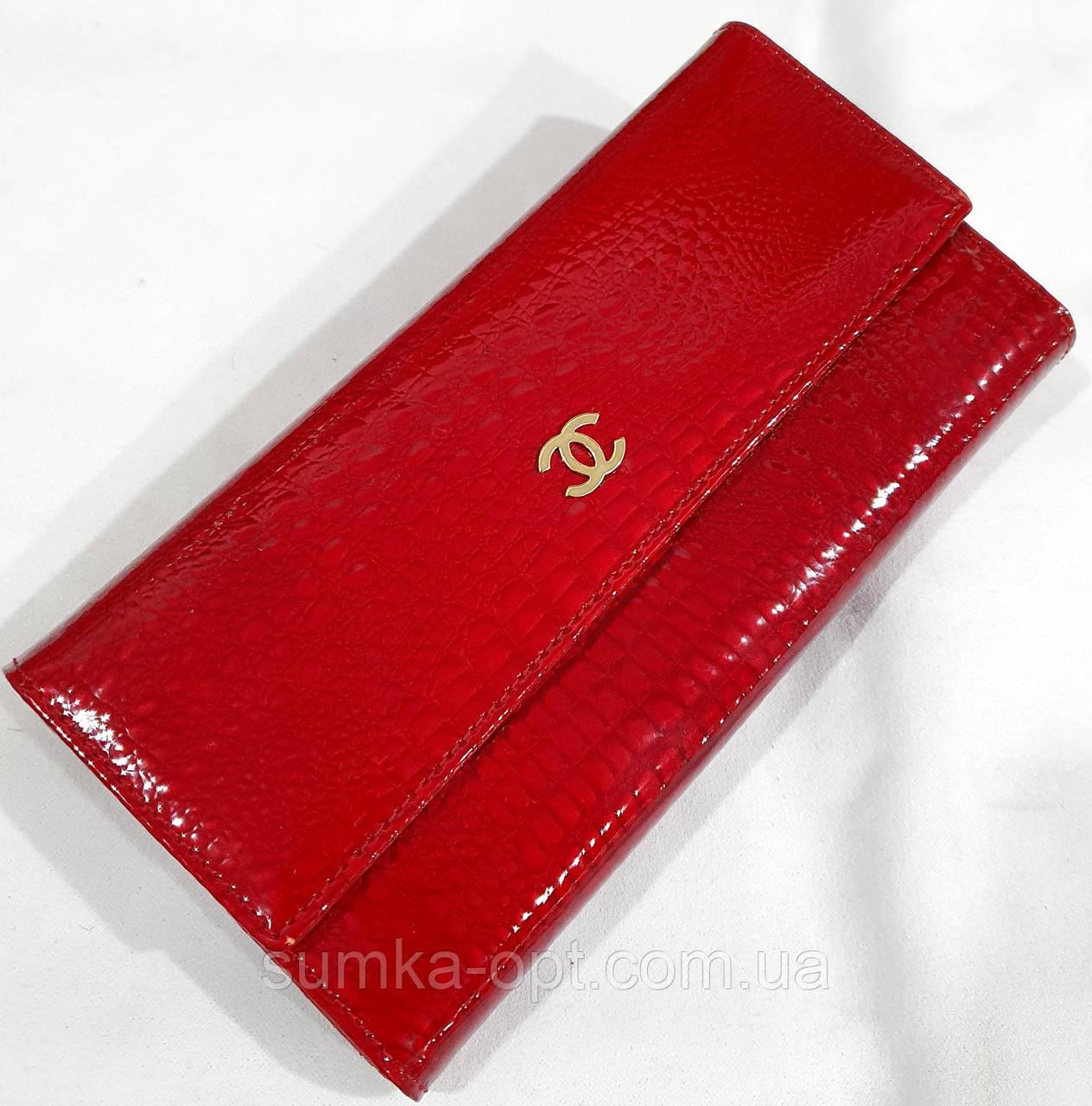 Женский красный лаковый кошелек Chanel на кнопках (натуральная кожа)