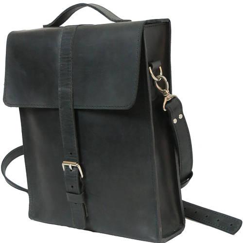 Мужская вертикальная кожаная сумка-портфель Agruz 72993 черный Размеры: 31х25х8 см.