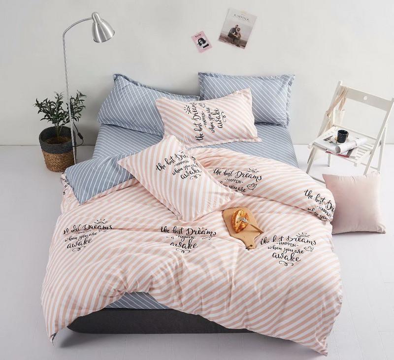 Комплект постельного белья полоска из микросатина Евро.