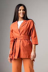 Льняной женский пиджак с поясом на запах и карманами в 3 цветах в размерах S, M, L