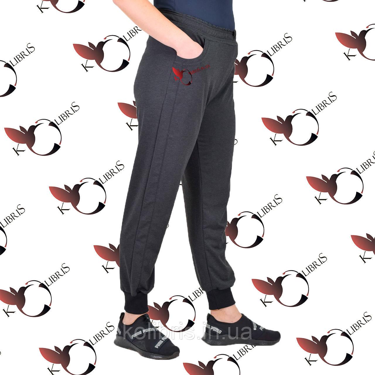 Женские брюки на манжете размеры от 50 до 58 двунитка серого цвета