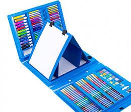 Детский набор для рисования  на 208 предметов с мольбертом в чемоданчике голубой