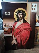 Рукописная икона Спасителя в терновом венце 1.8х1.2м