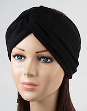 Женская повязка из двойного хлопкового трикотажа цвет черный