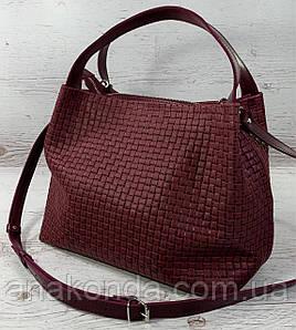525-2-XL Натуральная кожа Сумка женская бордовая с тиснением 3D объемная кожаная сумка женская мягкая марсала