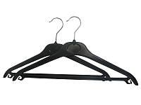 Чёрная пластиковая костюмная вешалка плечико 45см с перекладиной и металлическим крючком, фото 1
