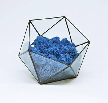Флораріум кашпо Моссаріум зі стабілізованим мохом ікосаедр синій 15 см