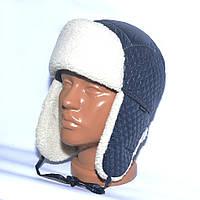 Теплая детская шапка-ушанка на зиму из искуственного меха - модель 114-16