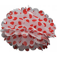 Помпон из тишью, белый в красный горох, 25 см