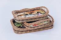 Набор подносов из лозы | поднос из лозы плетеный | поднос плетеный с лозы 3 штуки