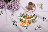 Скатертина Великодня 145-220 «Пасхальний Кошиком» Зелений візерунок Біла, фото 3