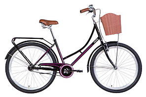 """Велосипед прогулочный городской Dorozhnik JADE 26"""" 2021, черно-розовый"""