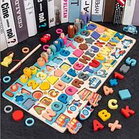 Детская деревянная развивающая игрушка геометрика рыбалка монтесори подарок мальчику и девочке